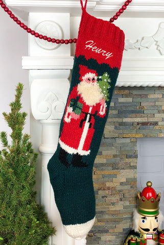 Saint Nicholas Hand Knit Wool Christmas Stocking