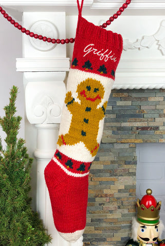 Gingerbread Boy Hand Knit Christmas Stocking