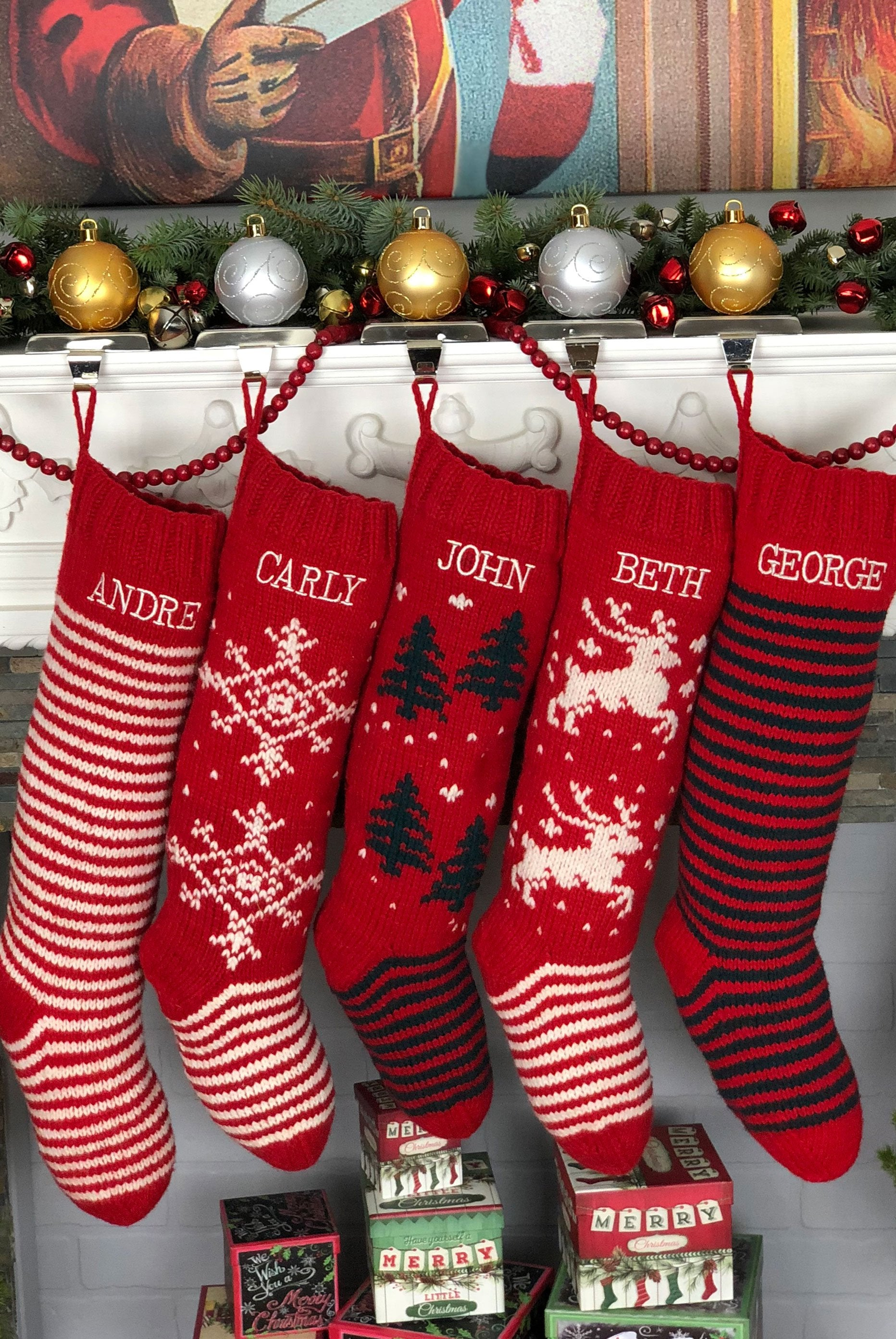 Green & Red Striped Christmas Stocking – Hand Knit Holiday