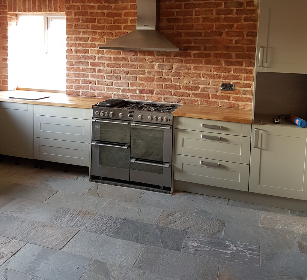 Natural stone kitchen tiles - after