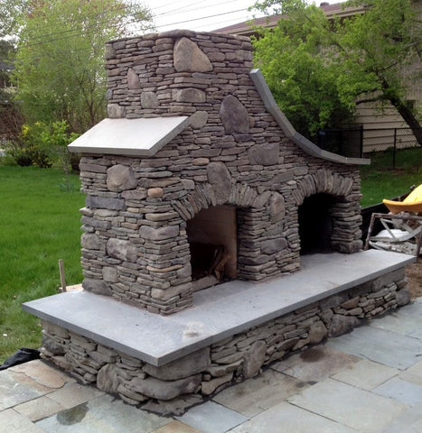 giant fieldstone fireplace | How to Build Your Own Outdoor Stone Fireplace
