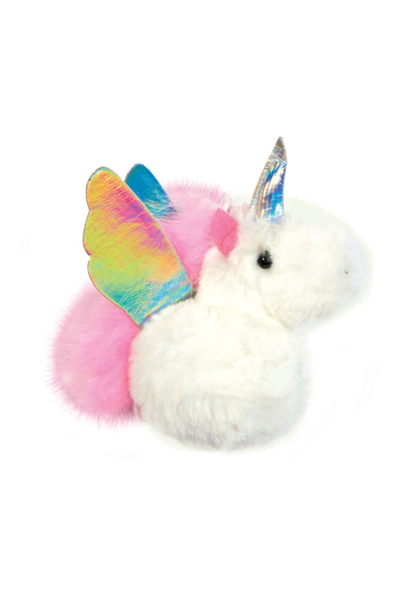 White Unicorn Furry Pom Pom Clip