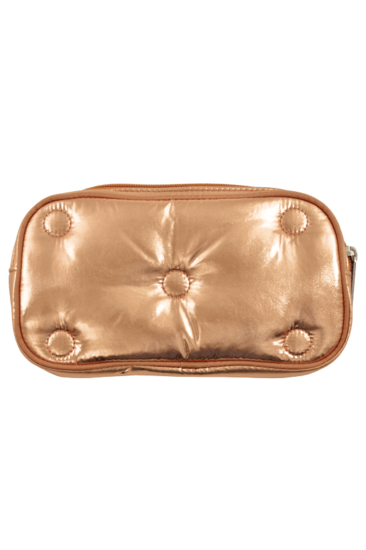 Copper Tufted Metallic Small Cosmetic Bag - Pink Possum