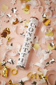 Confetti Fountain White, Gold & Silver