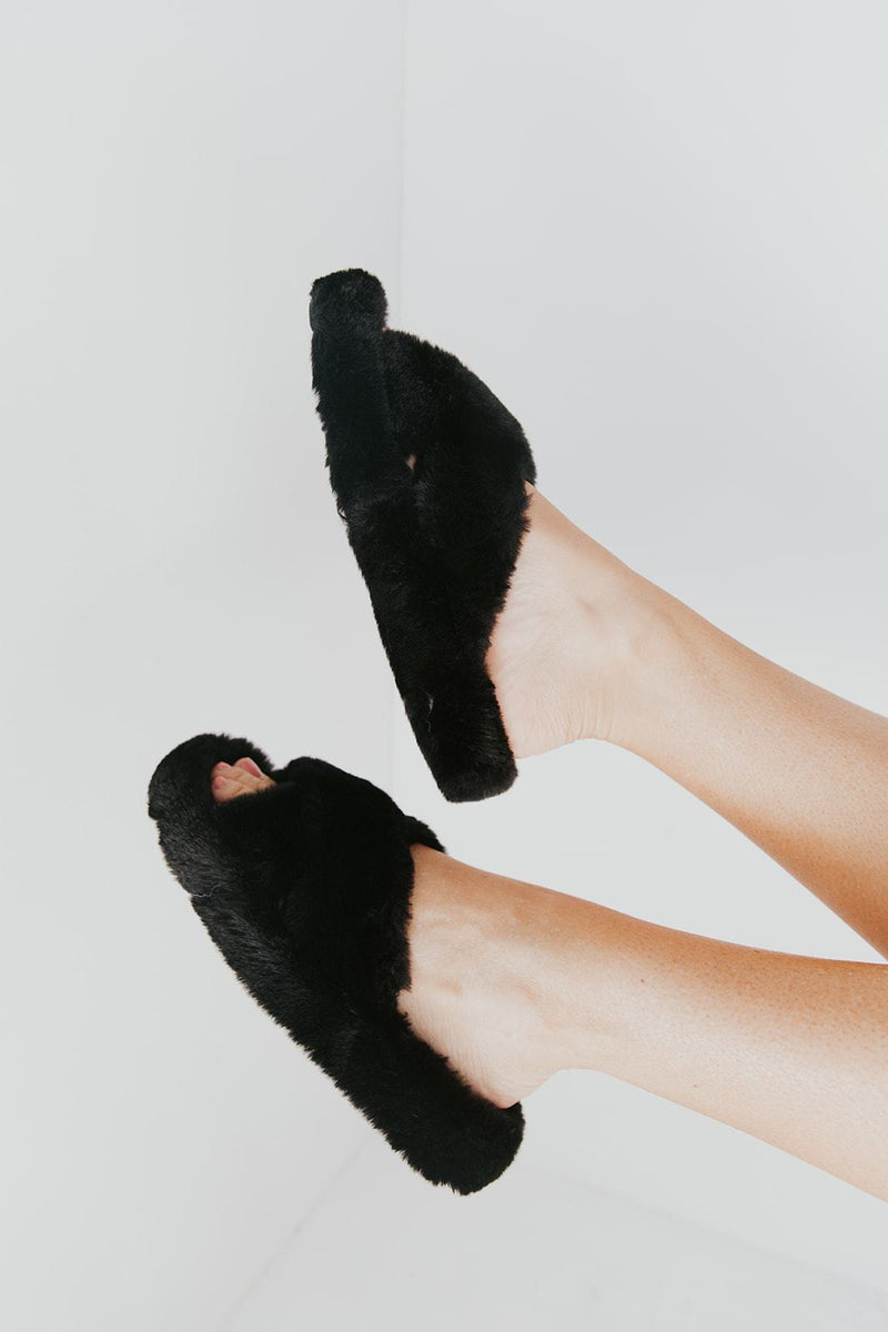 Midnight Fuzzy Slippers