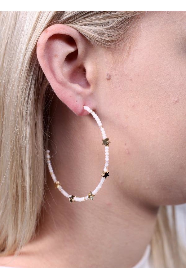 Preston Glass Bead And Star Bead Post Hoop Earring Natural - Pink Possum
