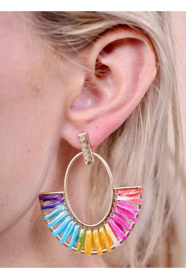 Roscoe Raffia Wrapped Oval Post Earring Multi