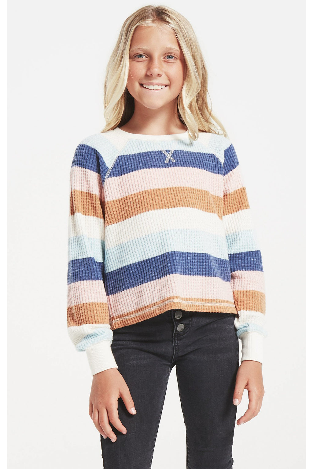 Girls Reagan Stripe Thermal Top
