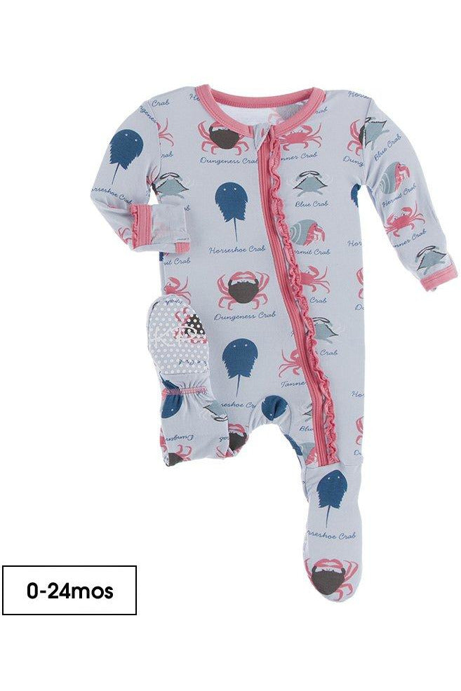 Print Muffin Ruffle Footie with Zipper in Dew Crab Types