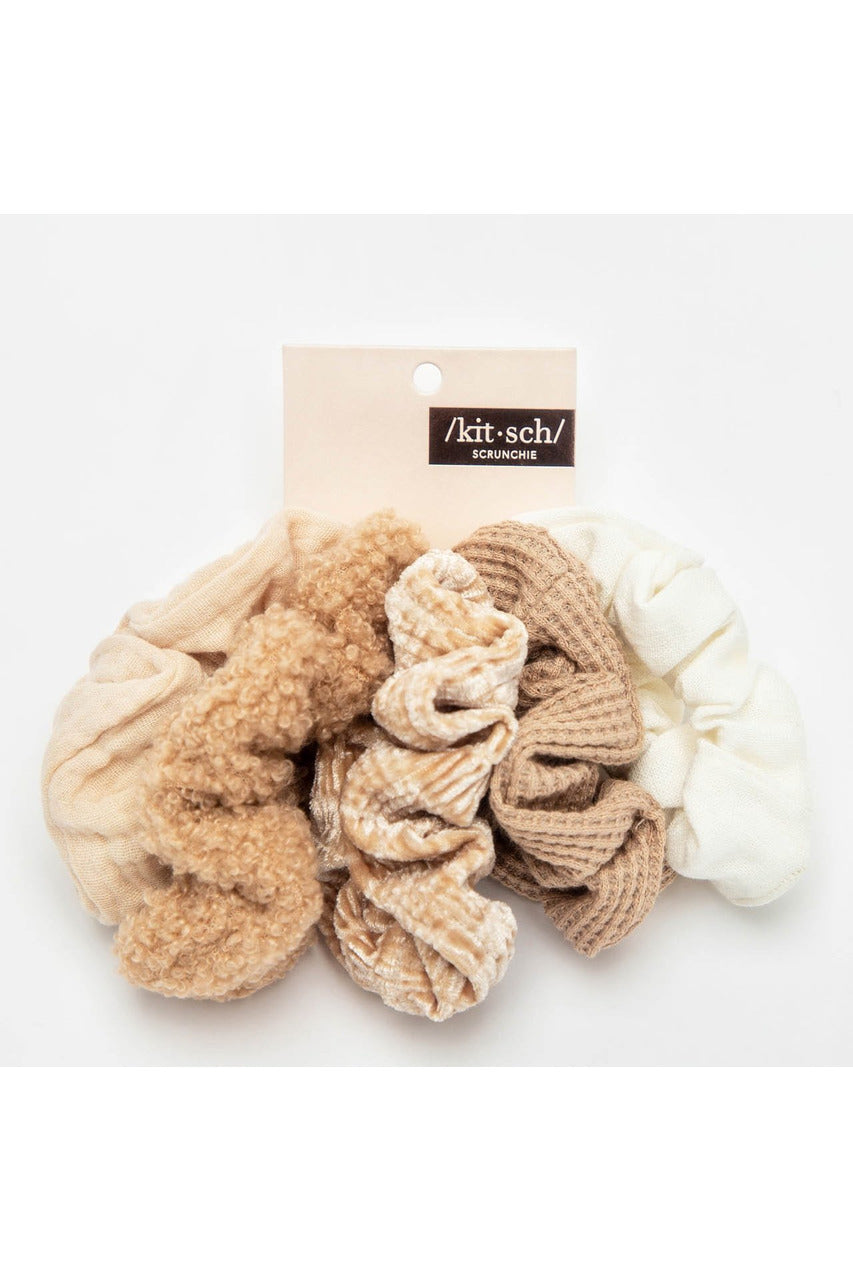 Assorted Textured Scrunchies 5pc - Sand