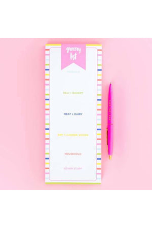 Striped Grocery List Pad with Magnet