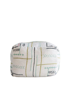 Bungalow Embroidered Cotton Pouf - Pink Possum