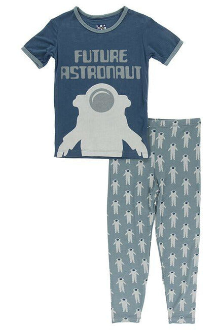 Dusty Sky Astronaut Print Short Sleeve Pj Set - Pink Possum