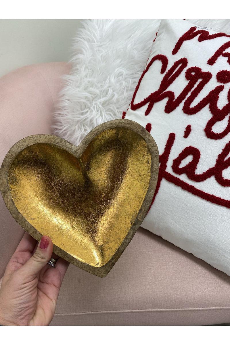 Gold Wooden Heart Tray