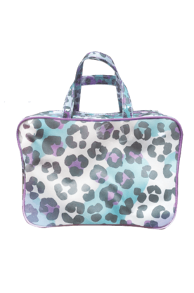 Snow Leopard Large Cosmetic Bag - Pink Possum