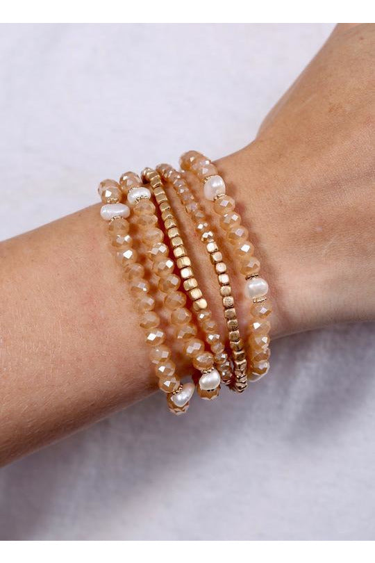 Nala Champagne Stretch Bracelet Set