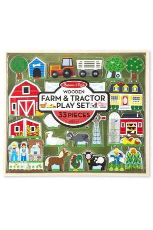Wooden Farm & Tractor Play Set - Pink Possum