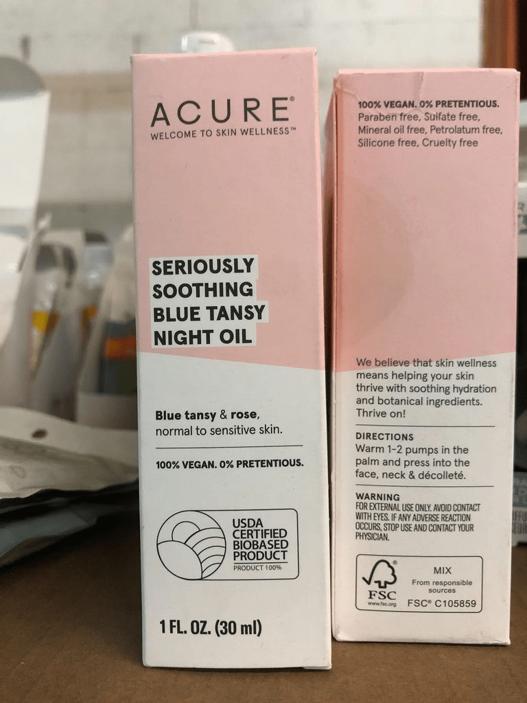ACURE Seriously Soothing Blue Tansy Facial Night Oil, 1 Fl Oz