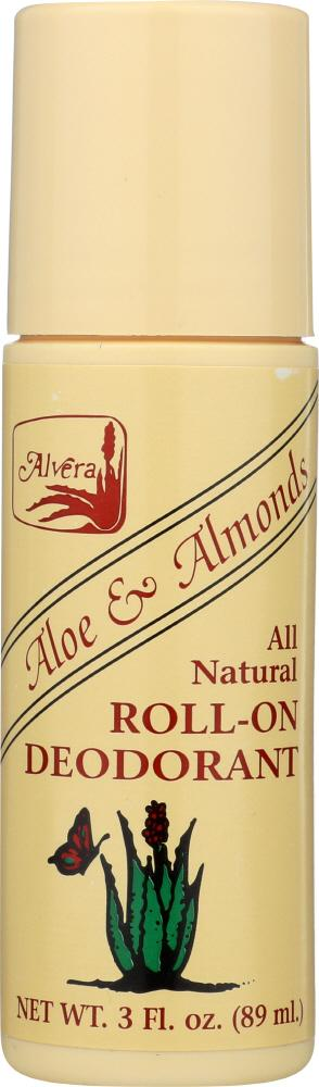 ALVERA All Natural Roll-On Deodorant Aloe And Almonds, 3 Oz