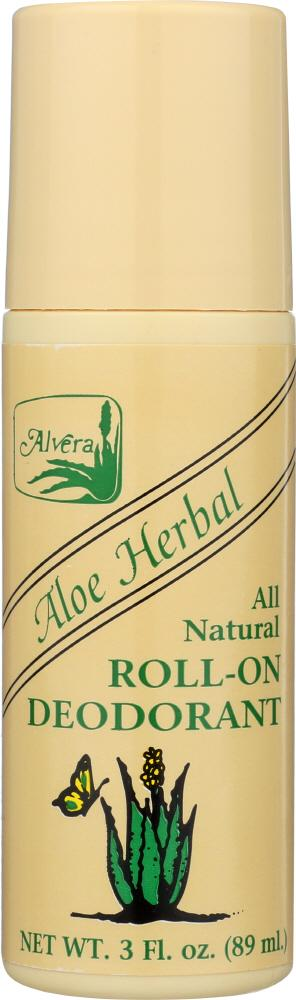 ALVERA All Natural Roll-On Deodorant Aloe Herbal, 3 Oz