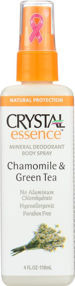 CRYSTAL BODY DEODORANT Deodorant Spray Chamomile & Green Tea, 4 Oz