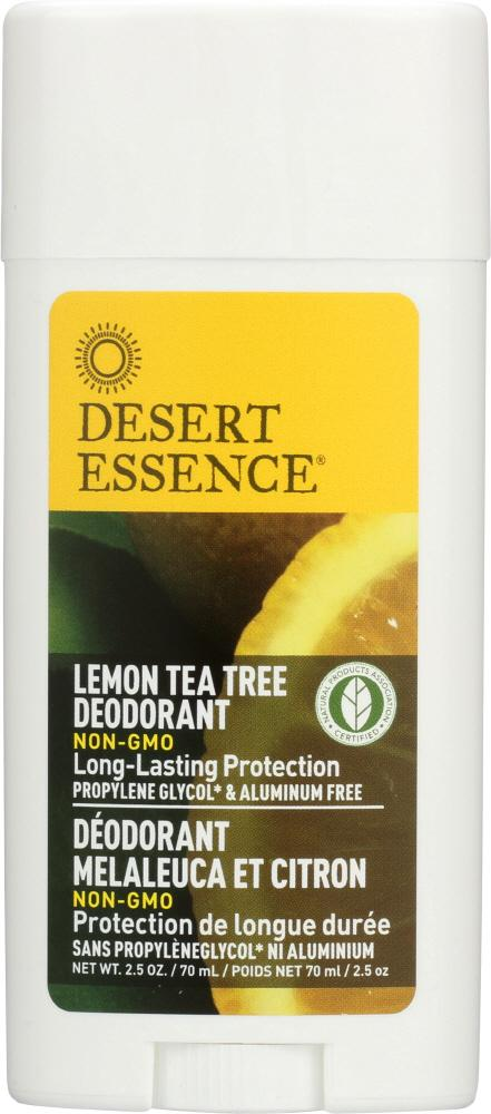 DESERT ESSENCE Deodorant Lemon Tea Tree, Long-Lasting Protection, Propylene Glycol & Aluminum Free, 2.5 Oz