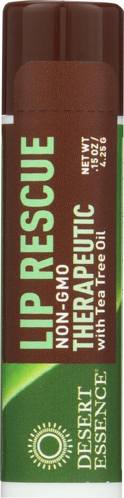 DESERT ESSENCE Lip Rescue Therapeutic With Tea Tree Oil, 0.15 Oz