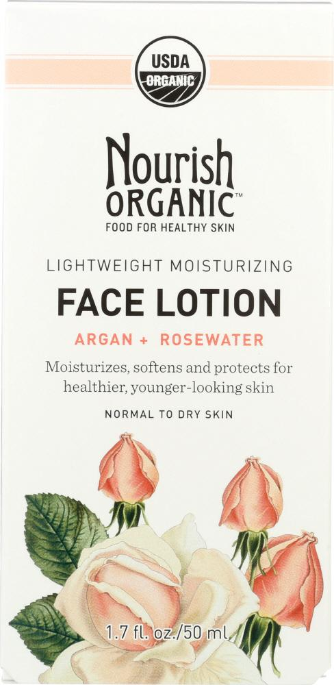 NOURISH ORGANIC Lightweight Moisturizing Face Lotion Argan + Rosewater, 1.7 Oz