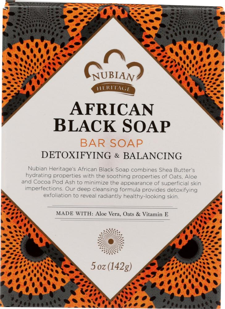 NUBIAN HERITAGE Bar Soap African Black With Oats Aloe And Vitamin E, 5 Oz