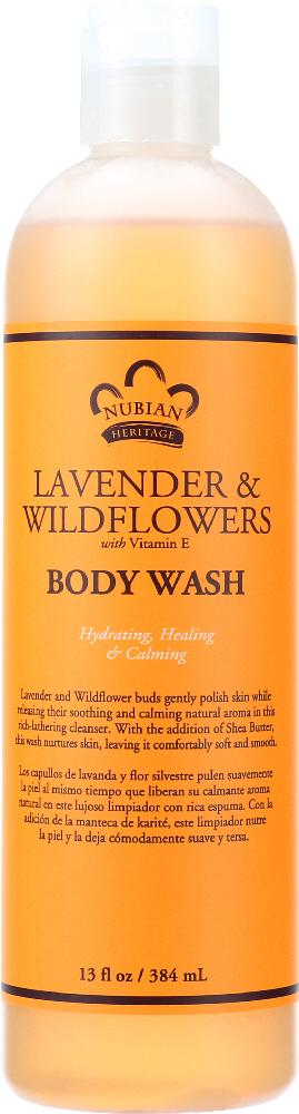 NUBIAN HERITAGE Body Wash Lavender & Wildflowers With Vitamin E, 13 Oz