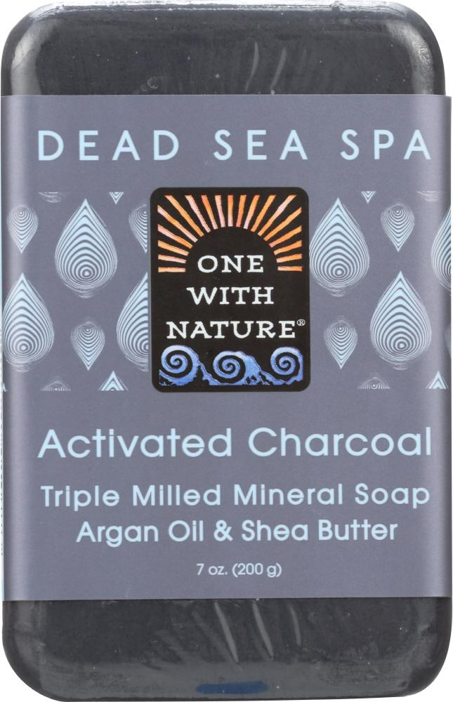 ONE WITH NATURE Activated Charcoal Triple Milled Mineral Soap Argan Oil & Shea Butter, 7 Oz