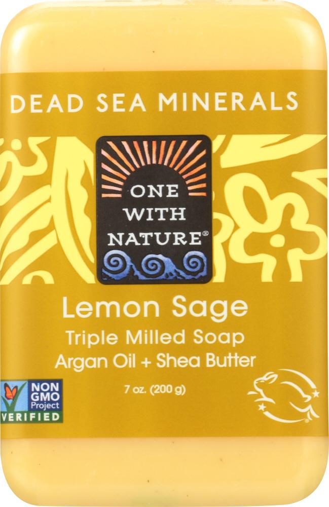 ONE WITH NATURE Lemon Sage Triple Milled Minerals Soap Bar, 7 Oz