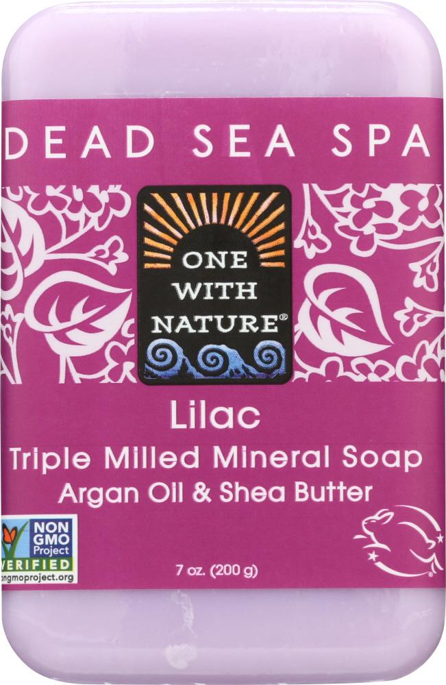 ONE WITH NATURE Lilac Dead Sea Mineral Soap, 7 Oz