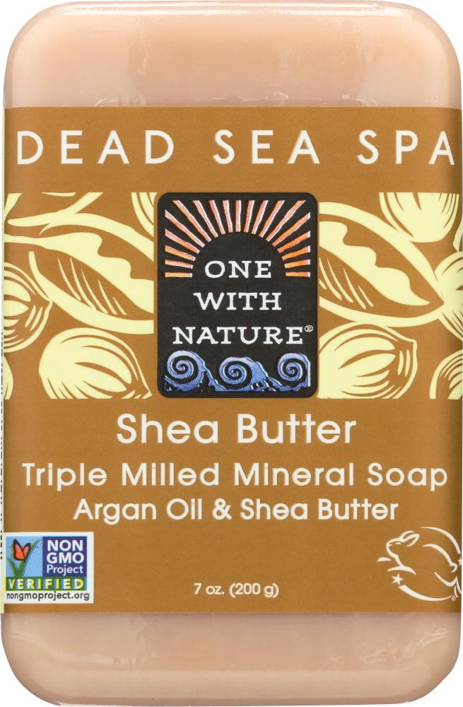 ONE WITH NATURE Shea Butter Triple Milled Mineral Soap Bar, 7 Oz