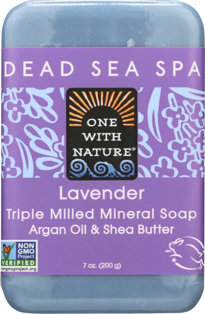 ONE WITH NATURE Triple Milled Soap Lavender Soap Bar, 7 Oz