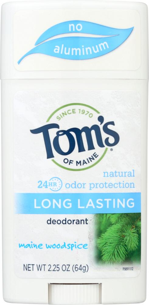 TOMS OF MAINE Aluminum-Free Deodorant Long Lasting Main Woodspice, 2.25 Oz