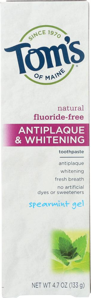TOMS OF MAINE Fluoride-Free Antiplaque & Whitening Toothpaste Spearmint Gel, 4.7 Oz