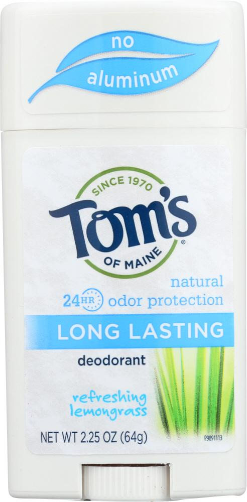 TOMS OF MAINE Long Lasting Deodorant Refreshing Lemongrass, 2.25 Oz