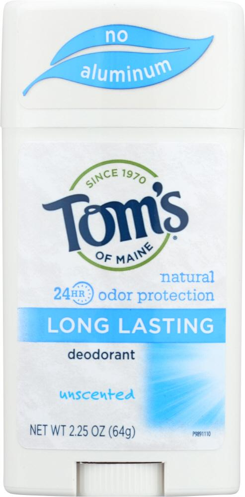 TOMS OF MAINE Natural Long-Lasting Deodorant Stick Aluminum-Free Unscented, 2.25 Oz
