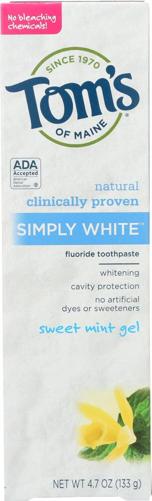 TOMS OF MAINE Toothpaste White Gel Mint Sweet (4.700 Oz)