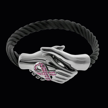 Lend a Hand Bracelet For Breast Cancer - Black