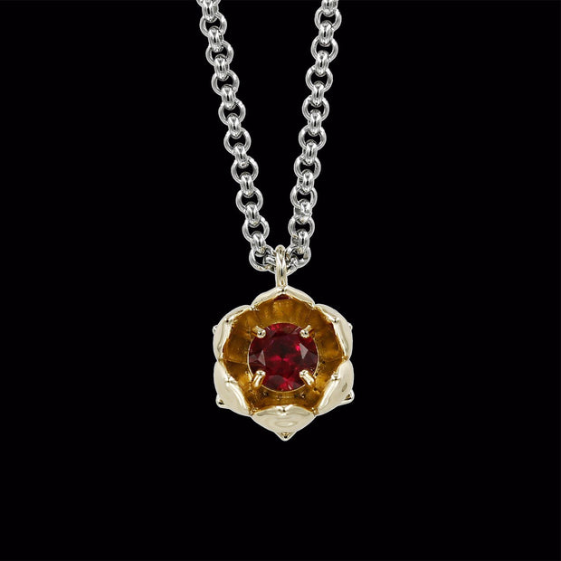 Gold Lotus Flower with Ruby