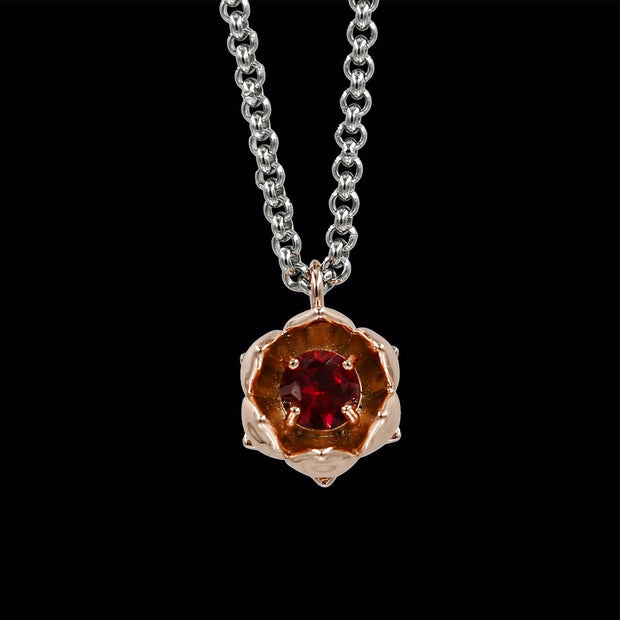 Rose Gold Lotus Flower with Ruby
