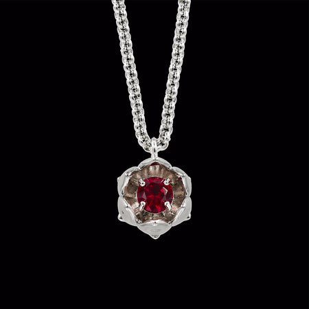 Silver Lotus Flower with Ruby