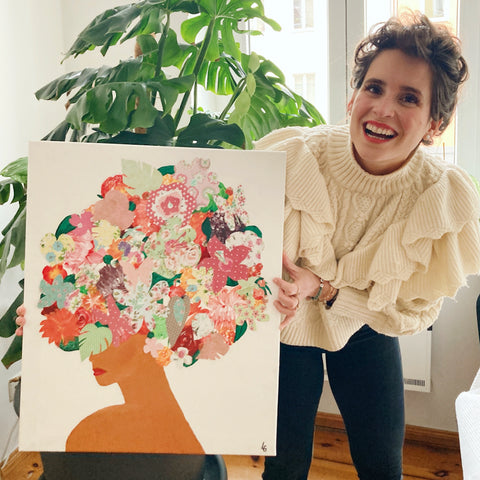 Lucille Guder and her painting Flowershead