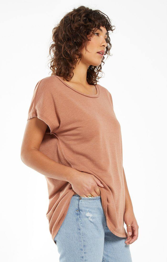 Z Supply Frankie Sweatshirt Tunic Tee - Vintage Brown