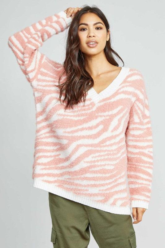 Sadie & Sage one reason pink zebra oversize sweater knit