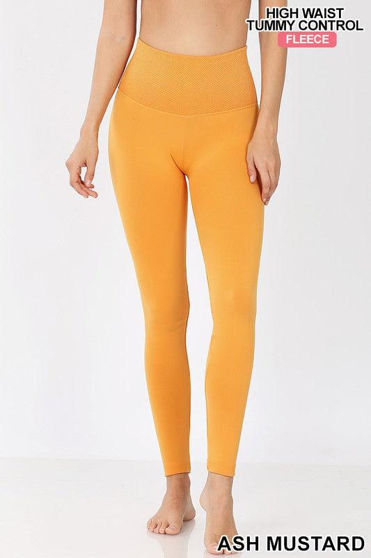 FLEECE TUMMY CONTROL GUSSET LEGGINGS - ASH MUSTARD