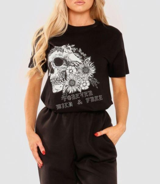 Floral Skull Graphic T-shirt - black