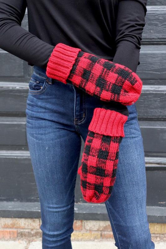 Plaid mittens with fleece lining - Red